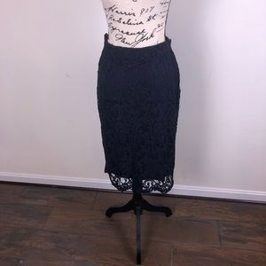 Navy Lace Pencil Skirt w/ exposed zipper